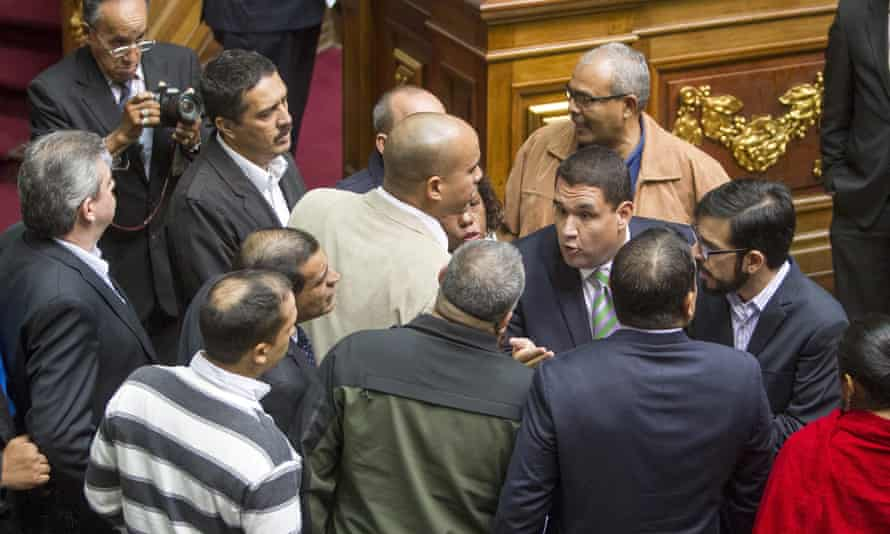 Venezuelan lawmakers appear at a national assembly session in Caracas Wednesday.