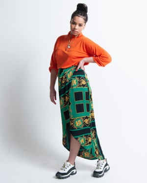 Bell wears zip-up top, £15, and wrap midi skirt, £20, both boohoo.com. Trainers, £85, by Cat, from urbanoutfitters.com