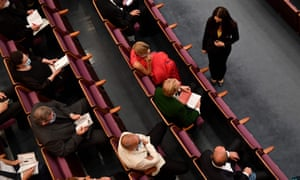 Seats are left empty between guests at the performance of Così Fan tutte at the Salzburg festival.