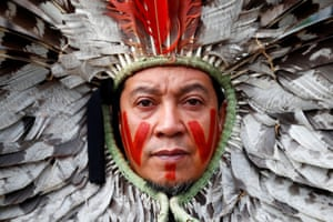 Brussels, Belgium A Brazilian indigenous community leader takes part in a protest against the destruction of the Amazon forest outside the European commission headquarters