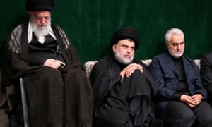(L-R) Iranian supreme leader Ayatollah Ali Khamenei, Iraqi Shia cleric, politician and militia leader Muqtada al-Sadr and Quds chief General Qassem Suleimani in Tehran in September 2019.