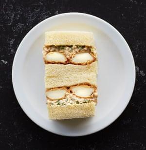 The 'egg mayo' katsu sando, at Tou in the Food Arcade Theatre, London