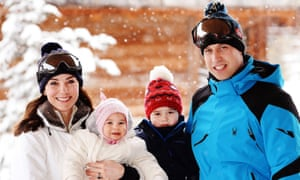 Catherine, Duchess of Cambridge and Prince William, Duke of Cambridge, with their children, Charlotte and George, on skiing break the French Alps