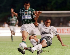 Cafu in action for Palmeiras in 1997, three years after he had won the World Cup in USA.