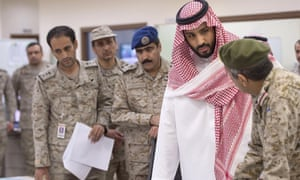 Saudi crown prince and defence minister Mohammed bin Salman with troops.