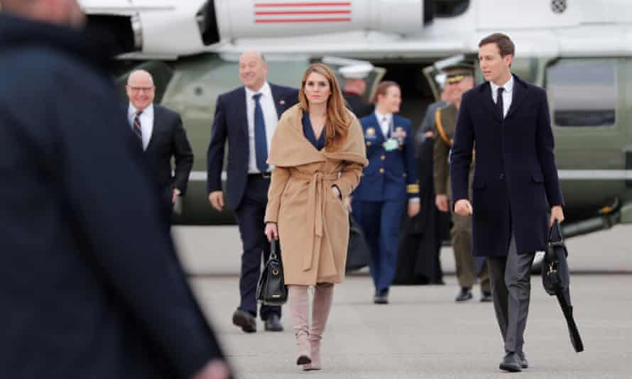 Hope Hicks walks on the tarmac after the World Economic Forum annual meeting in Davos, Switzerland on 26 January 2018.
