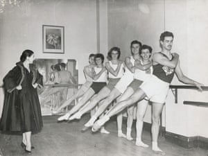 Margot Fonteyn watches athletes demonstrate what they learnt about ballet during a pilot scheme exploring the crossover between ballet and athletics