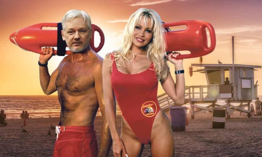 Beach buddies: Julian Assange and Pamela Anderson