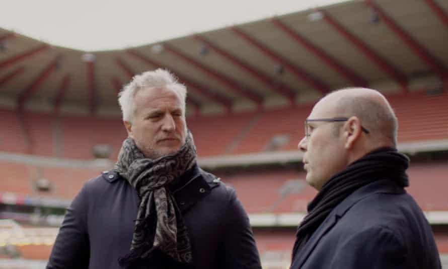 David Ginola (left) with Jean-Marc Bosman during the making a documentary to be shown on BT Sport.