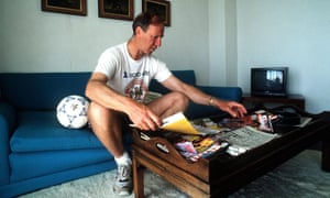 Charlton when he was coach of Ireland, going through football magazines during the 1990 World Cup.