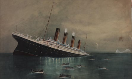 A painting of the Atlantic liner Titanic sinking