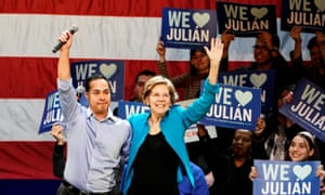 Julián Castro, the only Latino candidate in the Democratic race. He dropped out early and threw his support behind Elizabeth Warren.
