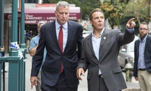 Bill de Blasio and Andrew Cuomo in New York City on 18 September 2016.