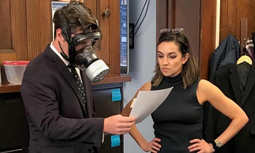 Matt Gaetz says he wore the mask to protect himself from the virus.