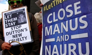 Refugee advocates in Sydney protest against the detention of asylum seekers bat Australian-run offshore detention centres on Nauru and Manus Island.