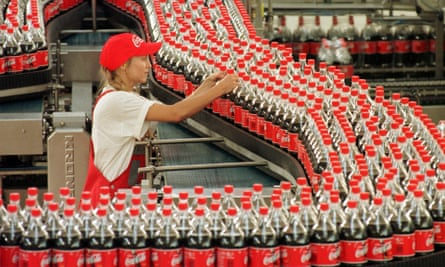 Coca-cola bottles on the production line