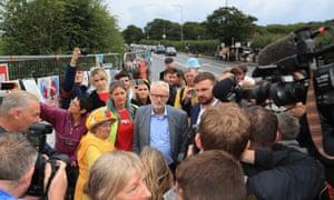 Corbyn at the Preston New Road shale gas site.