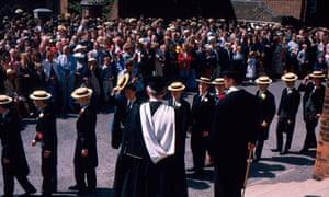 Harrow School's headmaster taking 'bill' or roll call on speech day in the 1980s.