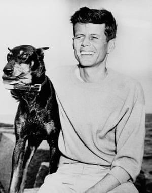 JFK with his dog at Hyannis Port, Massachusetts, in 1947