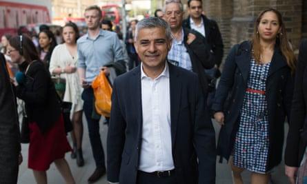Sadiq Khan makes his way to City Hall from London Bridge station.
