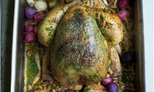 Catch the bird: roast chicken with herb butter and summer vegetables.