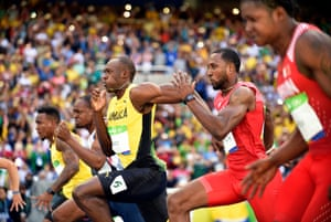 Jamaica's Usain Bolt competes in the heats of the men's 100m.
