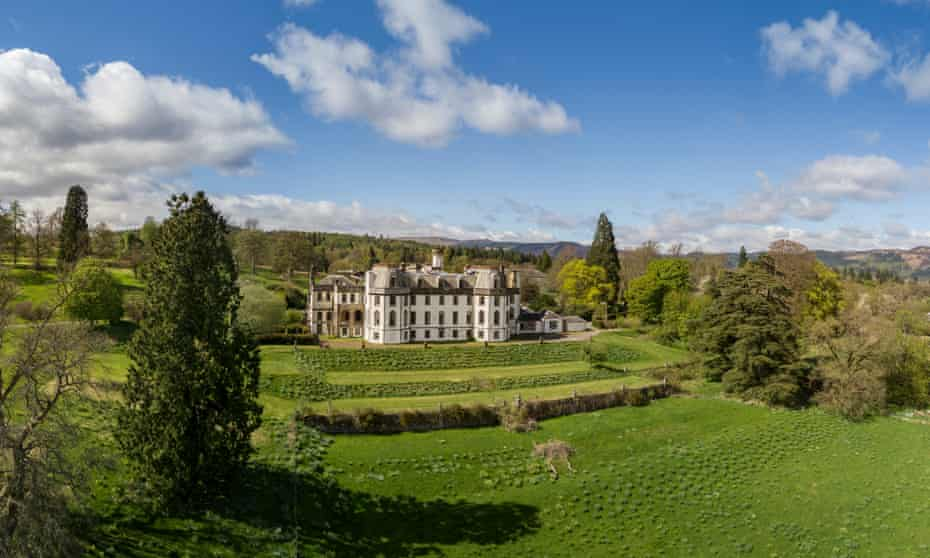 Gartmore House, Scotland, in its rolling grounds.