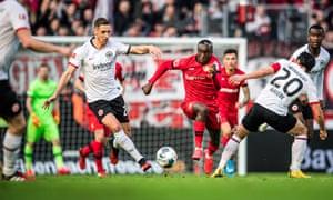 Eintracht Frankfurt's Dominik Kohr (left) in action against Bayer Leverkusen this month.