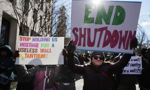 Federal workers and contractors rally against the partial federal government shutdown in Washington DC last week.