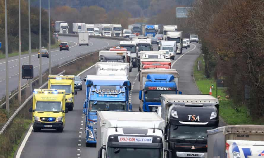 Freight lorries queueing along the M20 in Kent waiting to access the Eurotunnel terminal in Folkestone. Gareth Fuller/PA Wire