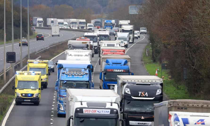 Freight lorries queue along the M20 in Kent waiting to cross to France last month.