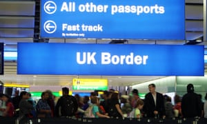 passengers going through the UK Border at Terminal 2 of Heathrow Airport.