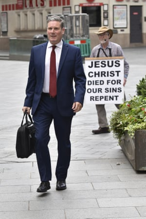 Keir Starmer in London this morning.