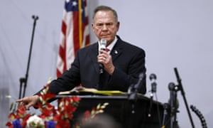 Roy Moore speaks during a campaign event at the Walker Springs Road Baptist Church in Jackson, Alabama.