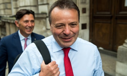 Arron Banks, front, and Andy Wigmore after their appearance at the media select committee on 12 June.