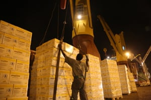 21 June 2015, Djibouti: Food items from the World Food Programme are being loaded onto this ship departing from Djibouti to Yemen (300 tons of Plumpy dose, 2000 tons of yellow split peas, and 700 tons of vegetable oil). Humanitarian assistance is critically needed in the war-torn country where a naval blockade imposed by the Arab coalition has reduced commercial imports to a trickle. Only a few ships are getting through each week in a country that is more than 90% dependent on food imports. Fuel is also in critical supply, and this has dramatic consequences on basic healthcare services, waste management and clean water. (Yemen crisis) Credit: OCHA/ Charlotte Cans
