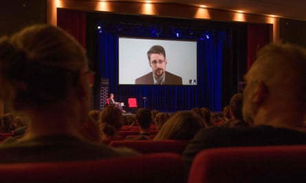 Snowden promotes his autobiography in Germany, via video link from Moscow.