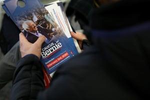 A Bernie Sanders campaign volunteer in Waterloo, Iowa, ahead of the caucuses next week.