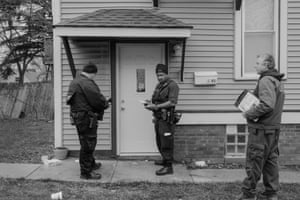 Sheriff deputies call at a house where an eviction order is due to be served. Deputies deal with any resistance put up by the householder, and then the movers get to work.