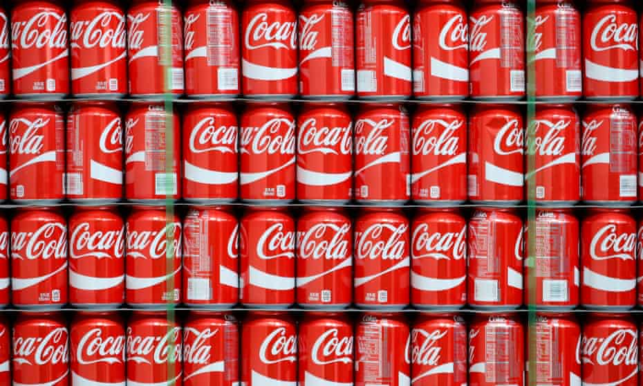 Pallets of Coke-Cola cans