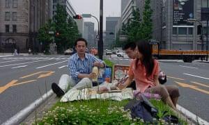 Hiroshi Ota and Kaori Ito picnic in Tokyo.