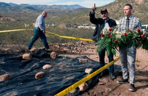Adrian LeBarón, center, Julián LeBarón, left, and Bryan LeBarón, right, respectively father and cousins of Rhonita Miller – one of the nine Mormon killed in an ambush past November – at the site of the attack in Galeana, Chihuahua state, Mexico, on 12 January.
