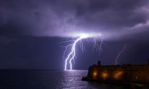 A lightning bolt strikes the sea during a storm in Valletta, Malta, February, 2019.
