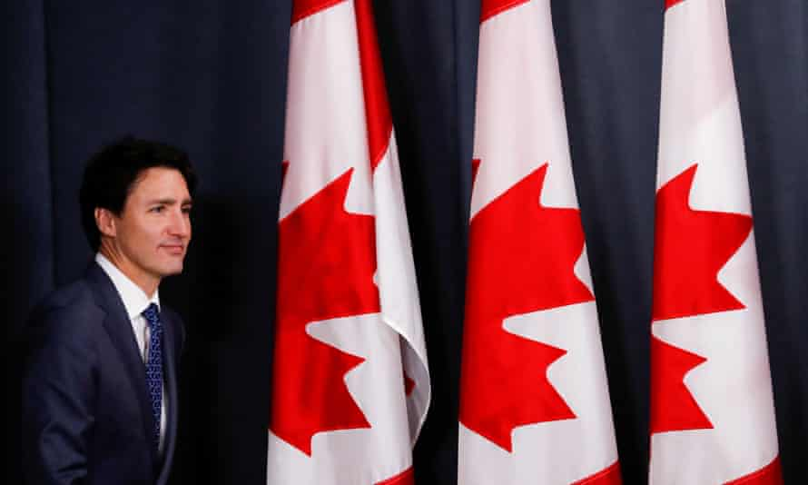Justin Trudeau arrives to speak to media in Ottawa, Ontario, Canada, on 23 October.