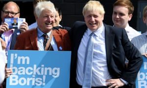 Conservative leadership candidate Boris Johnson arrives to be met by his father Stanley Johnson at Sandy Park Conference Centre in Exeter on 28 June.