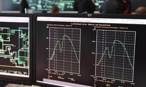 Computer monitors indicate the forecasted power loss at the 50 Hertz Transmission Control Center in Neuenhagen, Germany. The transmission provider is preparing to compensate the expected power loss during the partial solar eclipse.