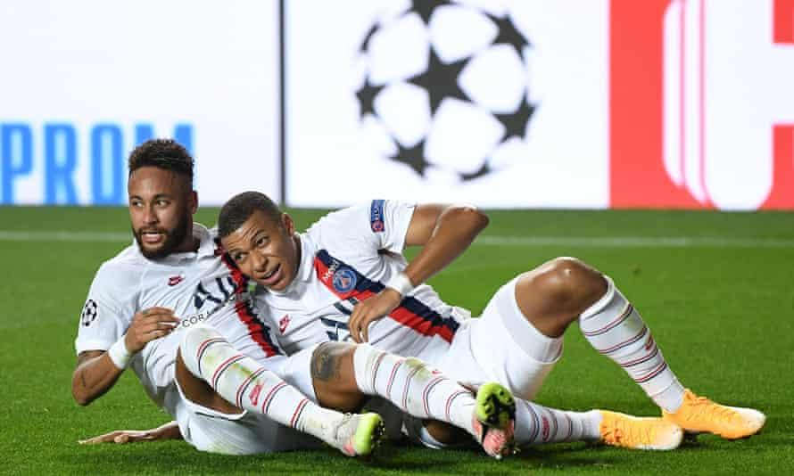 Neymar and Kylian Mbappé celebrate Paris St-Germain's second goal against Atalanta