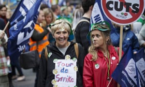 Public sector workers protest against cuts.