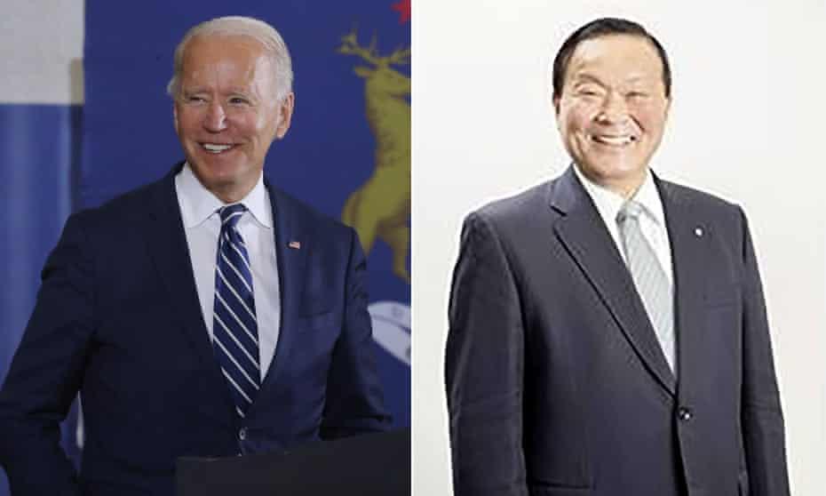 Joe Biden, the US president-elect, and Yutaka Umeda, or 'Jo Baiden', the mayor of Yamoto.
