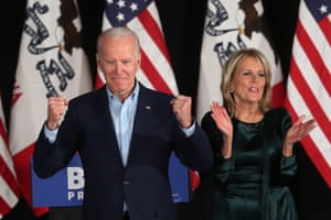 Democratic presidential candidate Joe Biden and his wife Jill appear at an election night rally in Des Moines.